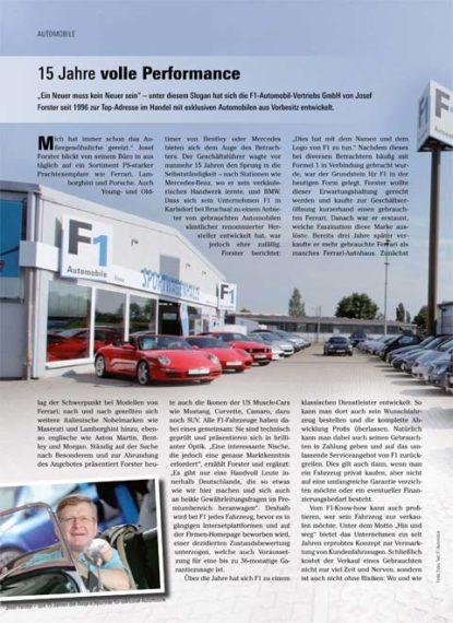 F1 Sportwagen – 15 Jahre volle Performance